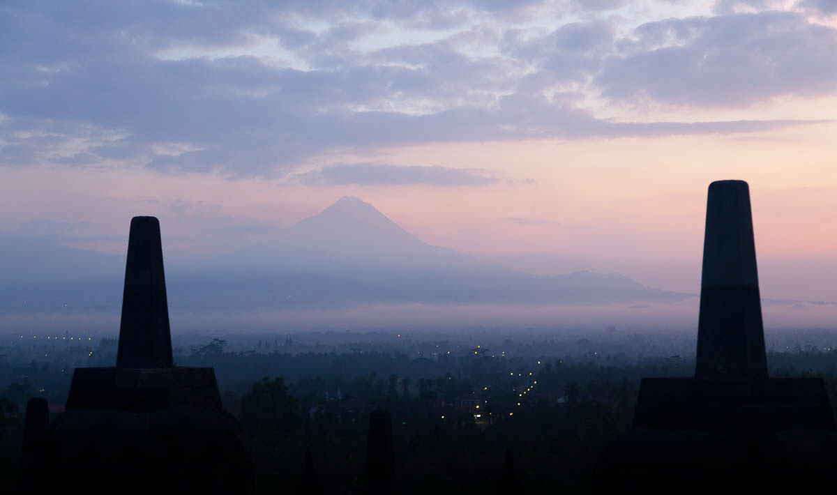Morning falls on Gunung Merapi